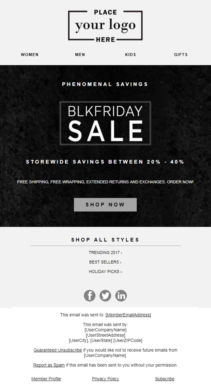 5 Email Templates For Thanksgiving Black Friday And Cyber Monday