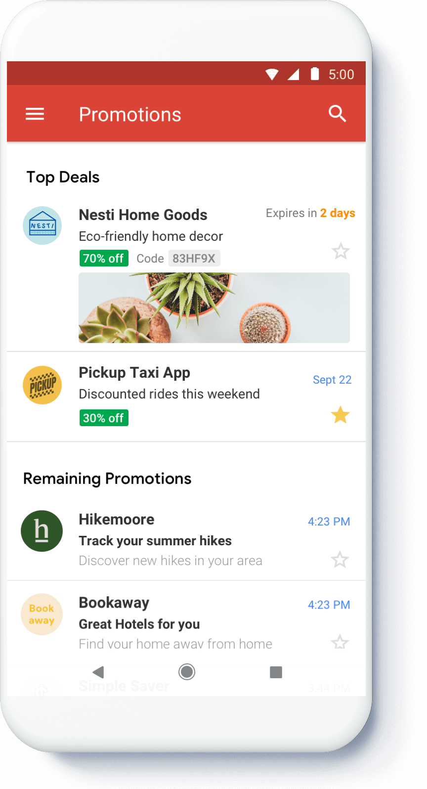 Mobile Gmail Promotions Tab - Email Annotations